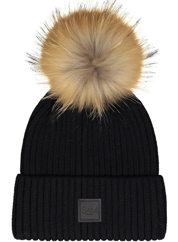 SAM - Fur Beanie Black/Natural