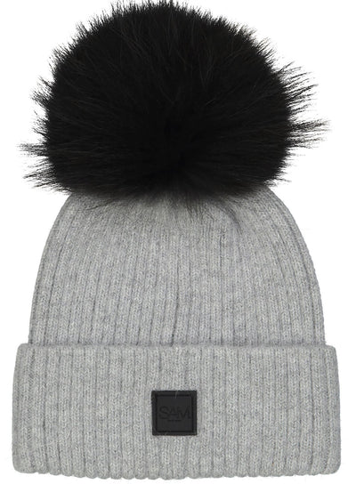 SAM - Fur Beanie in Grey/Black