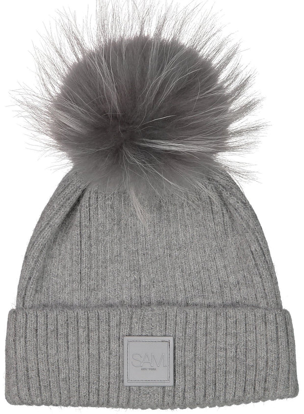 SAM - Fur Beanie in Grey/Grey