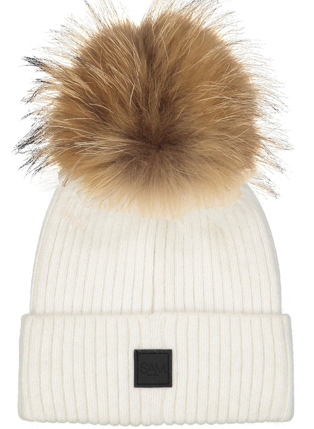 SAM - Fur Beanie White/Natural