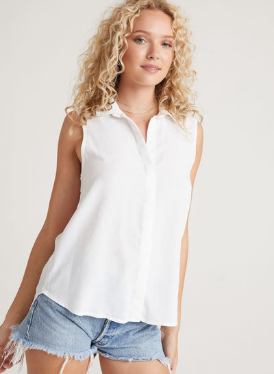 Bella Dahl - Sleeveless Button Down Shirt in White