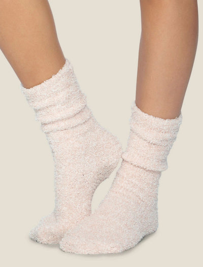 Barefoot Dreams - Cozychic Women's Heathered Socks in Dusty Rose-White
