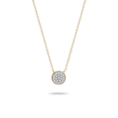 Adina - Solid Pave Disc Necklace in Y14K