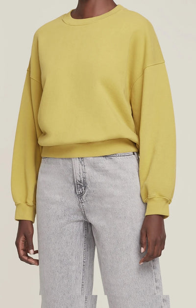 AGoldE - Balloon Sleeve Sweatshirt in Split Pea
