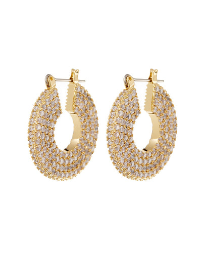 LUV AJ - Pave Stefano Hoops in Gold