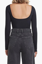 AGoldE - Sylvi Square Back Bodysuit in Black