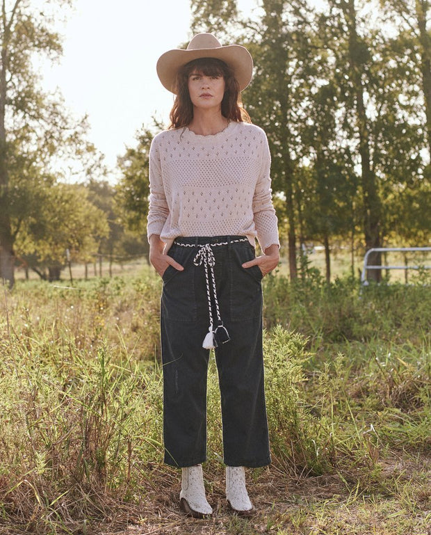 The Great - Scallop Pointelle Sweater in Soft Heathered Pink