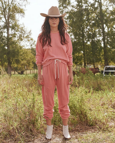 The Great - Striped Rib Shrunken Sweatshirt in Dark Victorian Rose