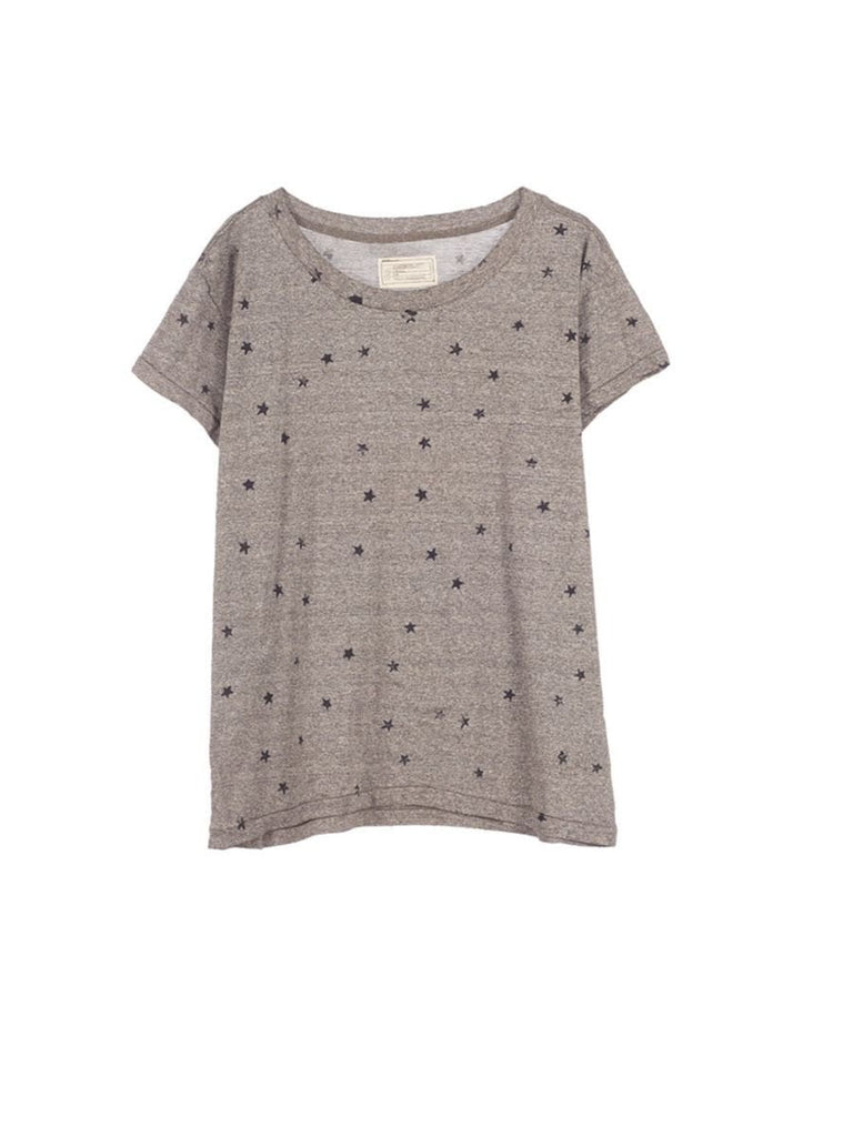 Current/Elliott The Crew Neck Heather Grey w/ mini navy Stars at Blond Genius
