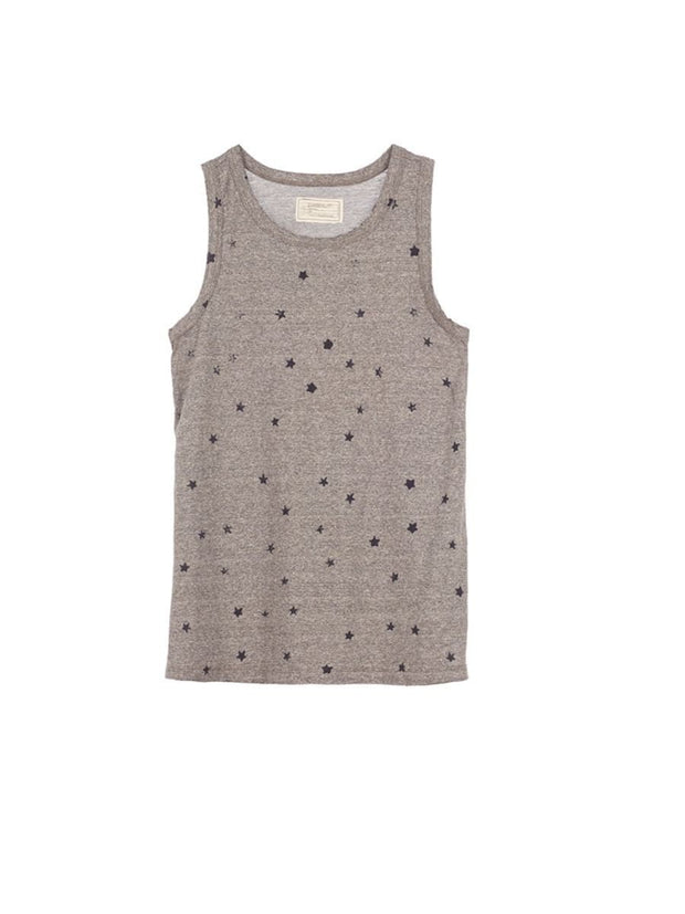 Current/Elliott The Muscle Tee Heather Grey w/ mini navy Stars at Blond Genius - 2