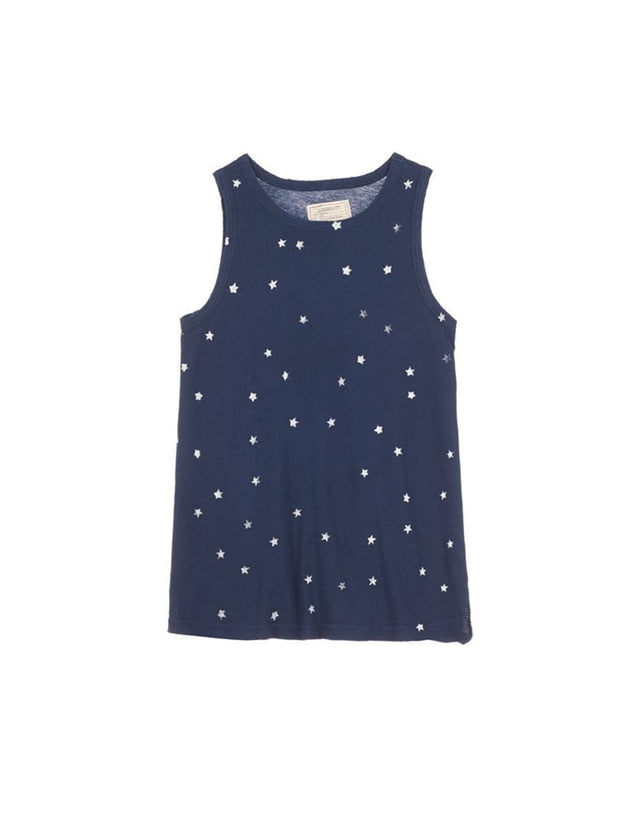 Current/Elliott The Muscle Tee Navy w/ mini white stars at Blond Genius - 2