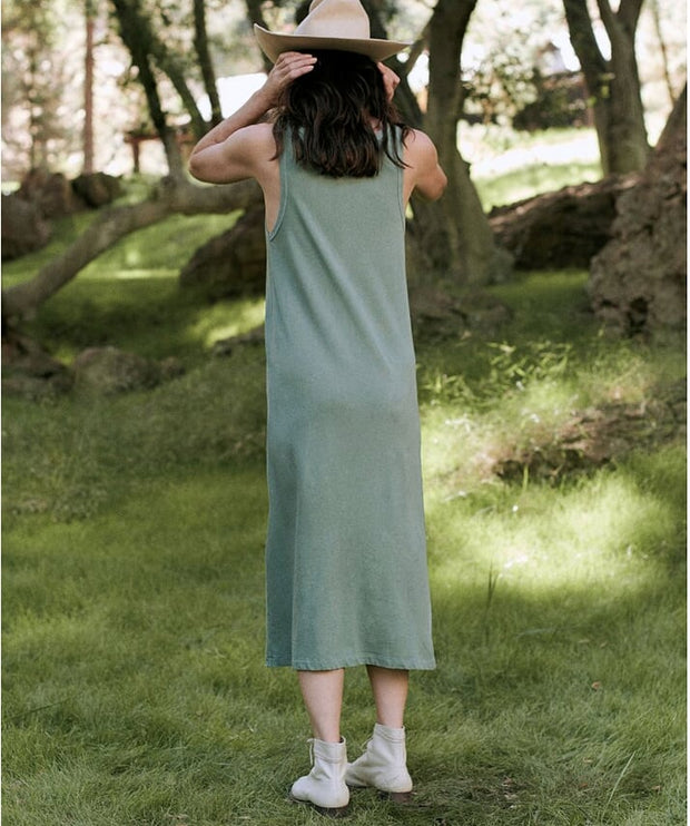 The Great - The Slim Henley Tank Dress Basil