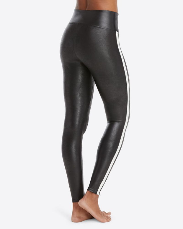 Spanx - Faux Leather Stripe Legging in Very Black/White