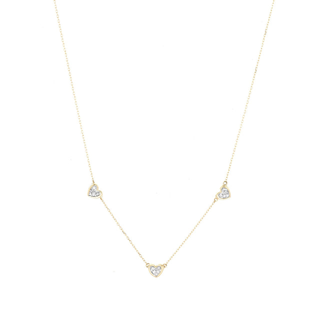 Adina - 3 Pave Folded Heart Chain Necklace in Y14