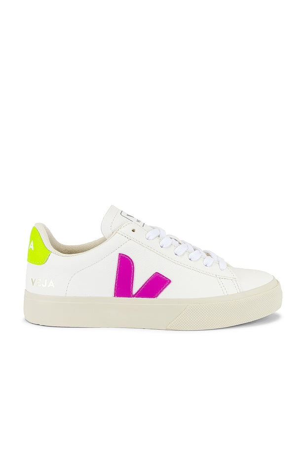 Veja Sneakers- Campo Chromefree Leather Extra White Ultraviolet Jaune Fluo