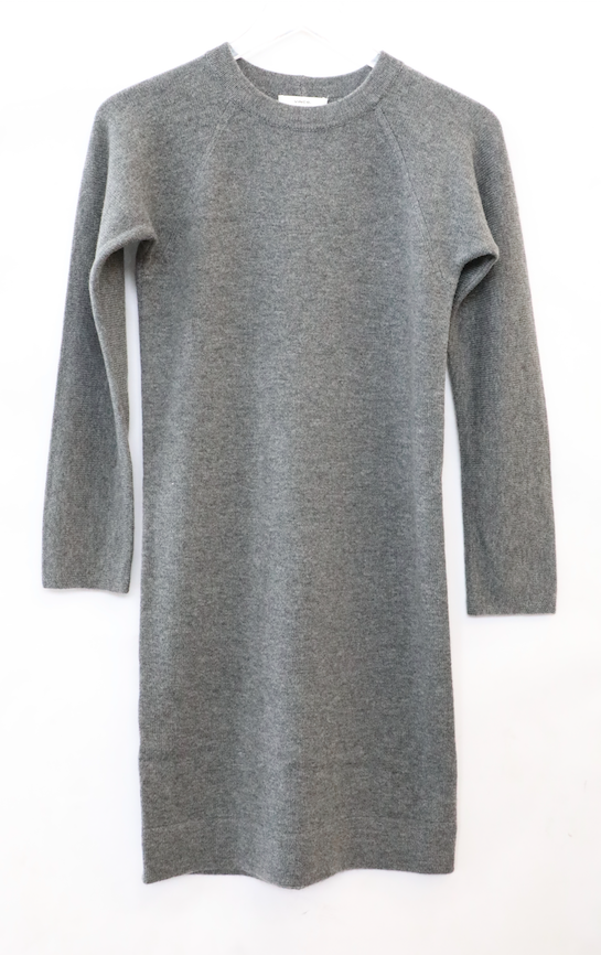 Vince - Raglan Crew Sweater Dress in Dark Heather Grey