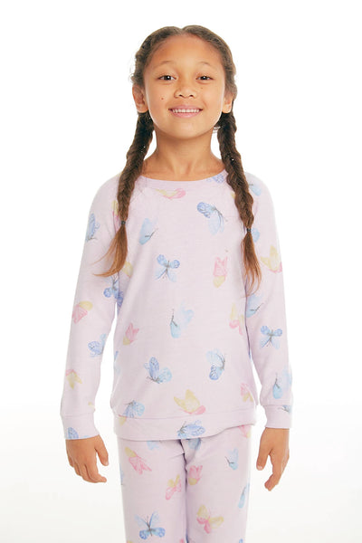 "CHASER KIDS - Girls Cozy Knit Raglan Pullover ""Watercolor Butterflies"""