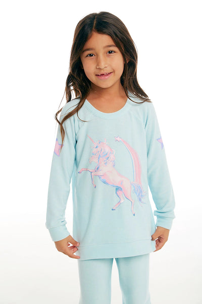 "CHASER KIDS - Girls Cozy Knit Raglan Pullover ""Iridescent Unicorn"""