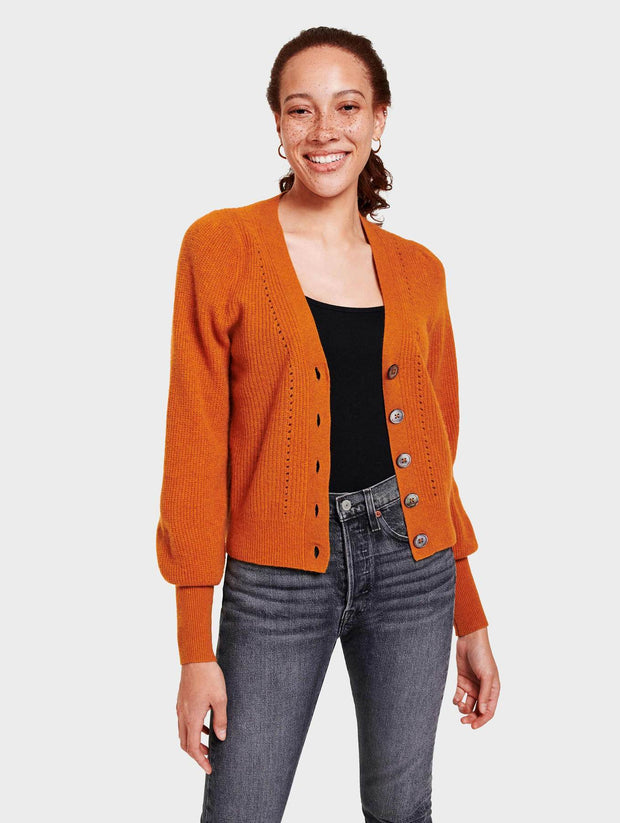 White + Warren - Exaggerated Puff Sleeve Cardigan in Amber Heather