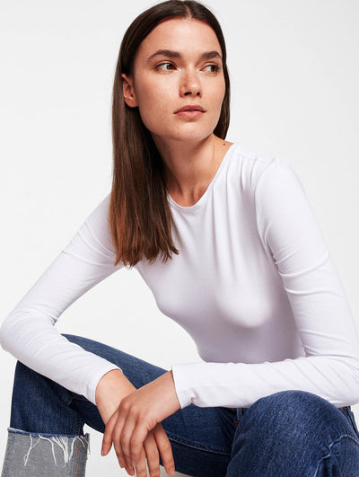 White + Warren - Modal Cotton Crewneck Long-sleeve Tee in White