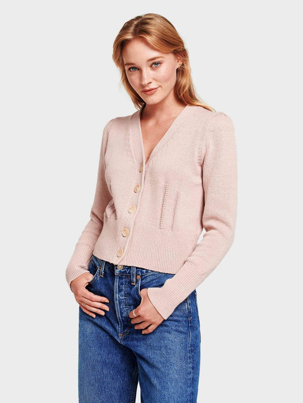 White + Warren - Puff Shoulder Cardigan in Pink Topaz