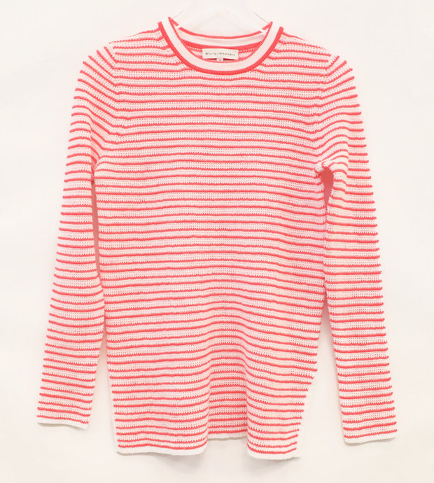 White + Warren - Striped Thermal Long-sleeve Shirt in White/Red Stripe