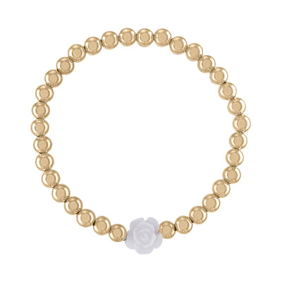 Alexa Leigh - 5mm Gold Ball Bracelet with White Flower in Yellow Gold