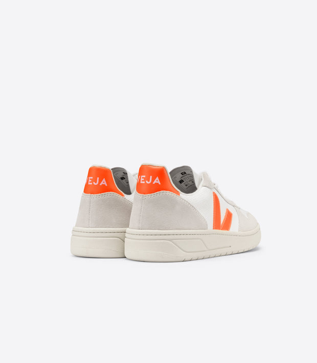 Veja - V-10 B-Mesh Sneakers in White Natural Orange-Fluo