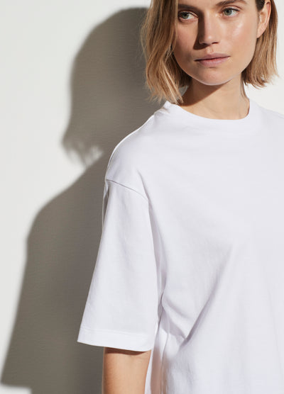 Vince - Wide Sleeve Crop Tee in Optic White
