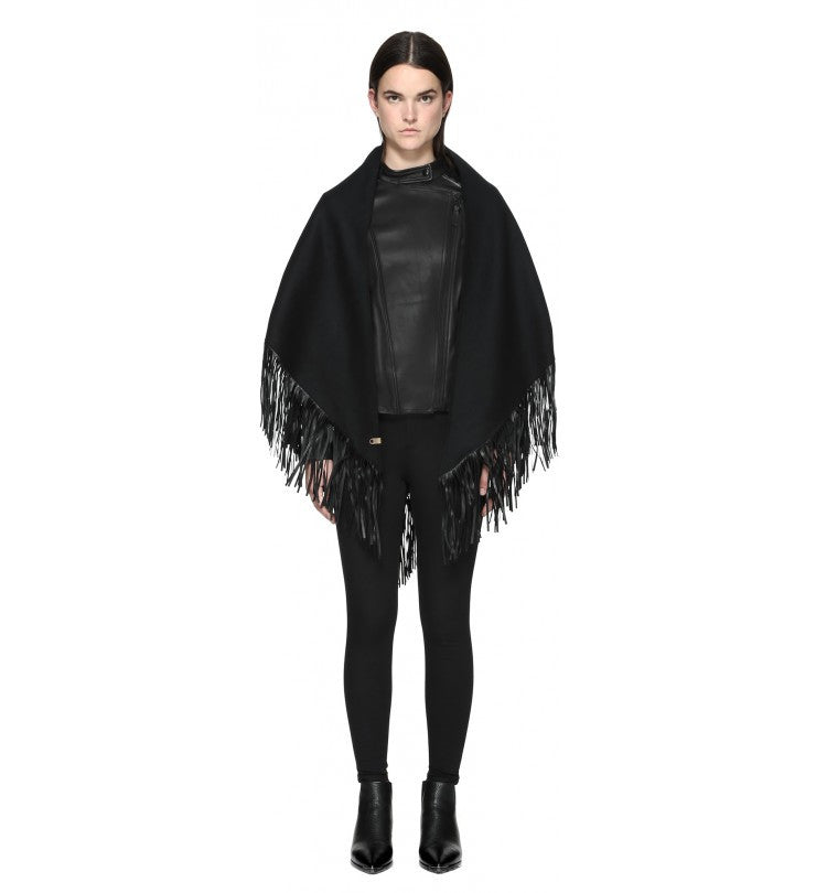 Mackage Mackage- Fida Scarf + Leather Fringe Black at Blond Genius - 1