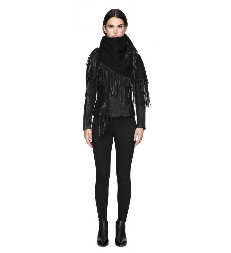 Mackage Mackage- Fida Scarf + Leather Fringe Black at Blond Genius - 2