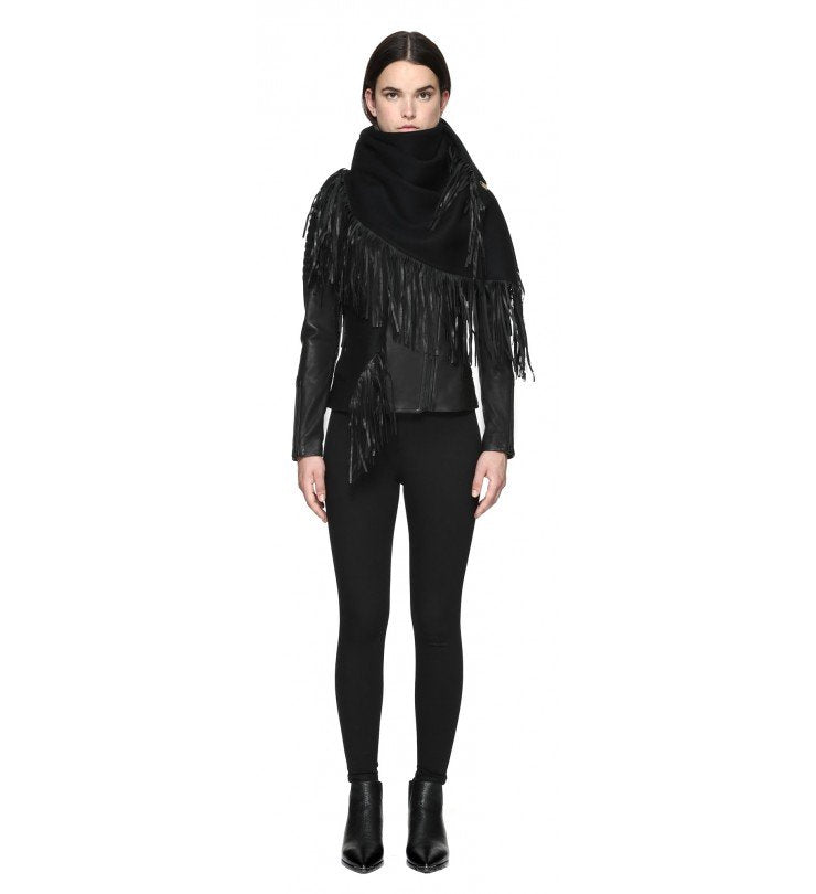 Mackage - Fida Scarf & Leather Fringe