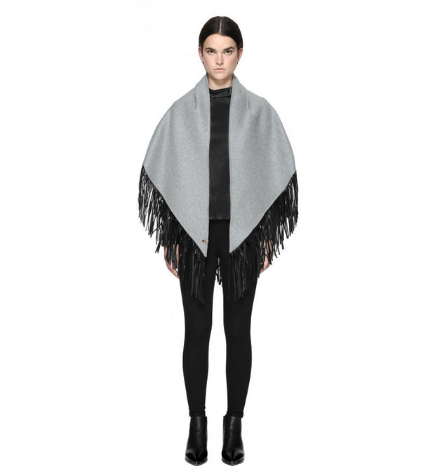 Mackage Mackage- Fida Scarf + Leather Fringe Light Grey at Blond Genius - 2