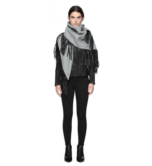 Mackage Mackage- Fida Scarf + Leather Fringe Light Grey at Blond Genius - 1