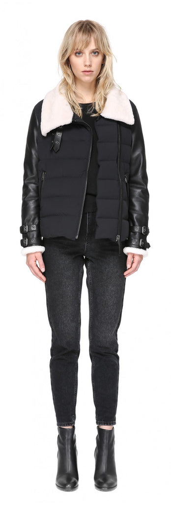 Mackage -  JOVIE RELAXED LIGHTWEIGHT DOWN WITH SHEEPSKIN IN BLACK