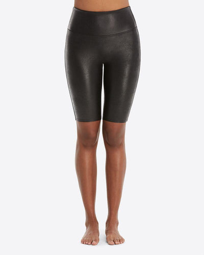 SPANX - Faux Leather Bike Short in Black