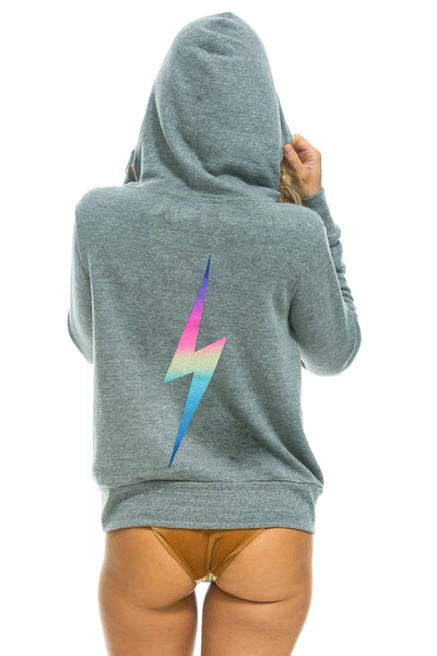 Aviator Nation - Bolt Zip Hoodie in Heather/Rainbow Pink