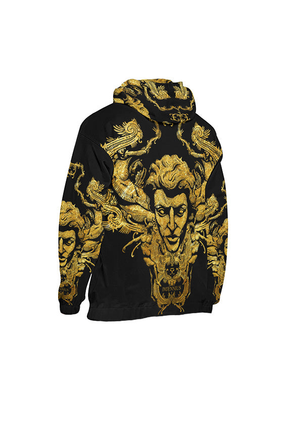 Imjennius Face Gold on Black Hoodie