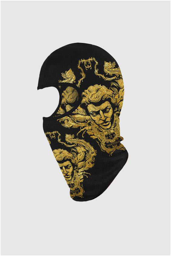 Imjennius Face Ski Mask Gold on Black