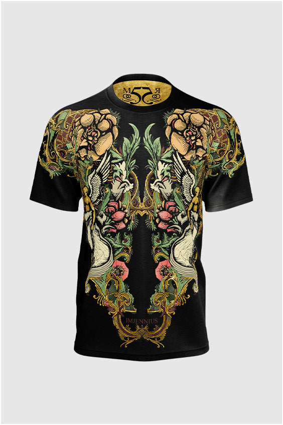 Angel Gold on Black Colored T-shirt