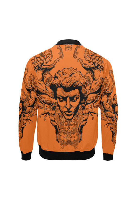 Imjennius Face Hermes Orange Bomber Jacket