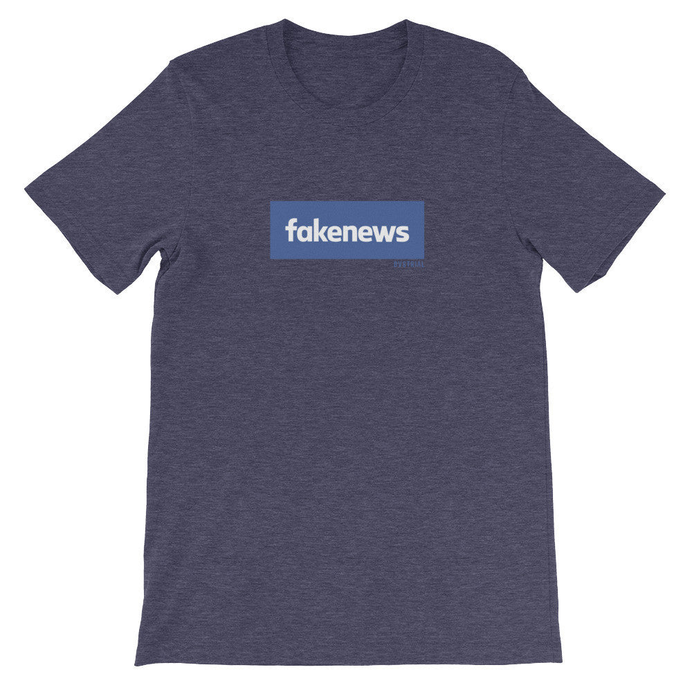 FAKENEWS UNISEX T-SHIRT-Dustrial-future-fashion-scifistreet-UNI TSHIRT BELLA-Heather Midnight Navy-S-