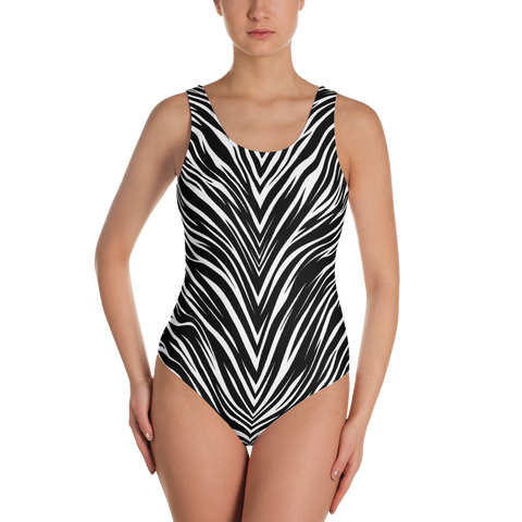STRIPE ZEBRA MONO ONE-PIECE SWIMSUIT