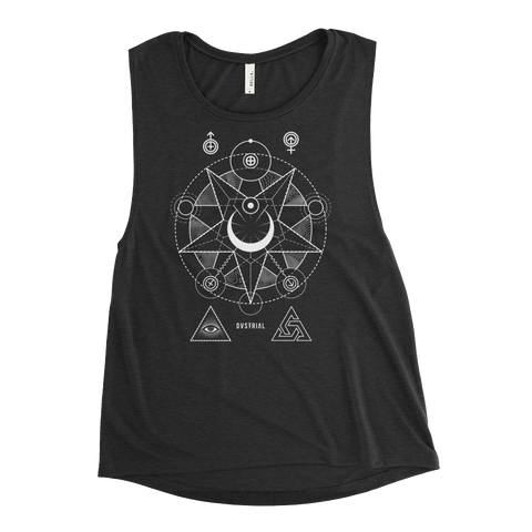 NEW WORLD CVLT WOMEN'S MUSCLE TANK-Black Heather-S-Dustrial