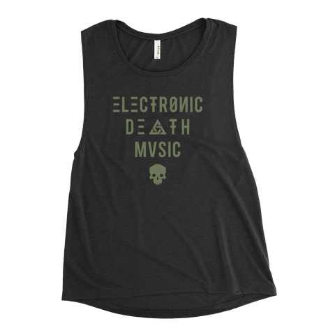 ELECTRONIC DEATH MUSIC WOMEN'S MUSCLE TANK-Black Heather-S-Dustrial