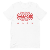 DAMAGED 002 UNISEX T-SHIRT-White-XS-Dustrial