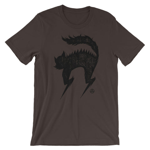 BLACK CAT UNISEX T-SHIRT-Brown-S-Dustrial