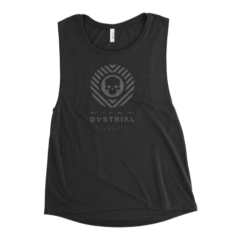 SKULLHEX MECH WOMEN'S MUSCLE TANK-Black Heather-S-Dustrial