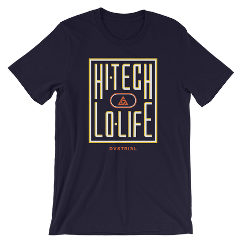 HI-TECH LO-LIFE UNISEX T-SHIRT-Navy-S-Dustrial