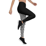 CHECKED OUT MONO ASYM LEGGINGS-Dustrial